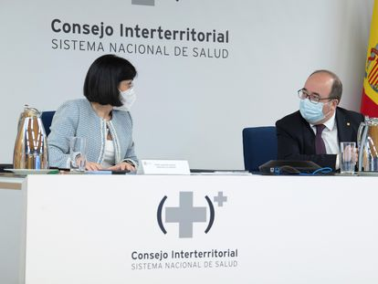 Health Minister Carolina Darias and serving Minister of Territorial Policy and Civil Service Miquel Iceta on Wednesday.