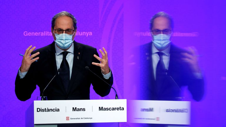 Catalan premier Quim Torra speaks during a news conference on Monday.