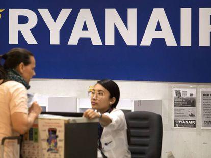 A Ryanair counter at Madrid Barajas airport.