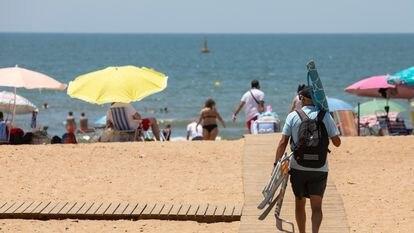 A beach in Huelva, in southwestern Spain.