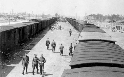 SS guards at the Auschwitz concentration camp in Poland.