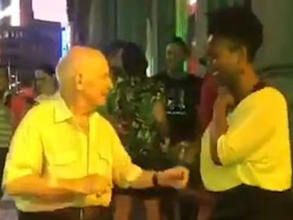 Footage of the elderly man improvising moves with a street performer has been seen over a million times