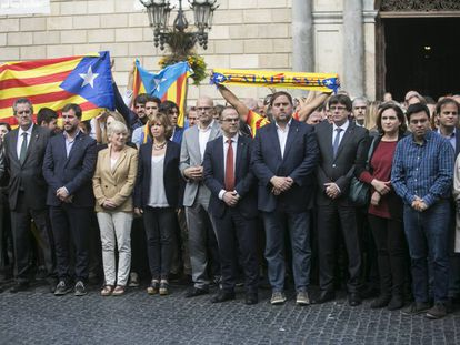 Members of the Catalan executive and Barcelona City Hall in Barcelona.