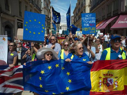 British residents of Spain protest in the southern city of Málaga on Sunday over the uncertainty of Brexit.