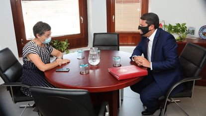 Spain's Foreign Minister Arancha González Laya with Gibraltar Chief Minister Fabian Picardo in Algeciras in July, when they met with local leaders in Cádiz to discuss matters of shared interest.
