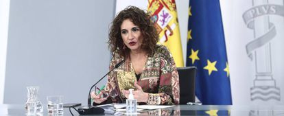 Spanish government spokesperson María Jesús Montero after the Cabinet meeting.