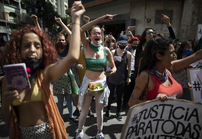 Women protesting against gender violence in Caracas in November 2020.