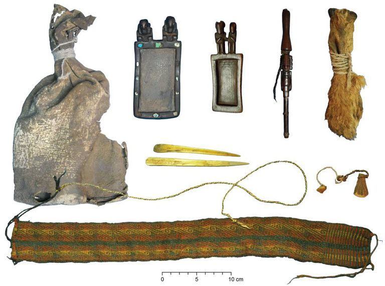 The different utensils used in ritual ceremonies more than 1,000 years ago in what is now Bolivia.