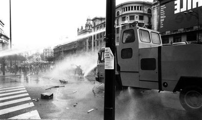 A police water cannon is deployed against students protesting against the Socialist government's education policies in 1987.