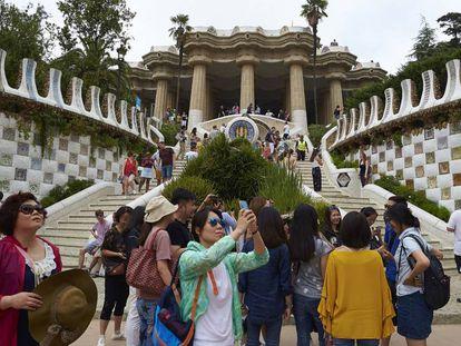 Tourists at Barcelona's Park Güell.