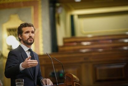 Leader of the Popular Party (PP), Pablo Casado, in Congress on Wednesday.