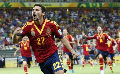 Flying down to Rio: Jesús Navas scores the penalty that puts Spain into a dream Confederations Cup final against Brazil.