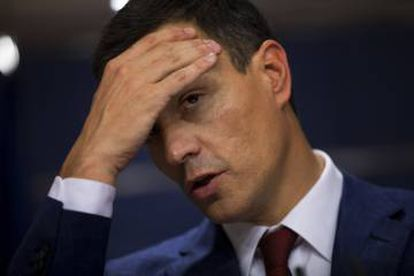 Spain's Socialist Party leader Pedro Sanchez attends a news conference after his meeting with Felipe VI.