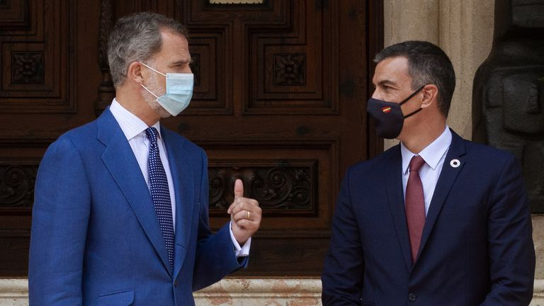 King Felipe VI and Spanish Prime Minister Pedro Sánchez on Wednesday.