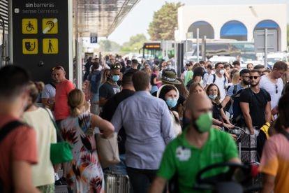Passengers outside Ibiza airport last week.