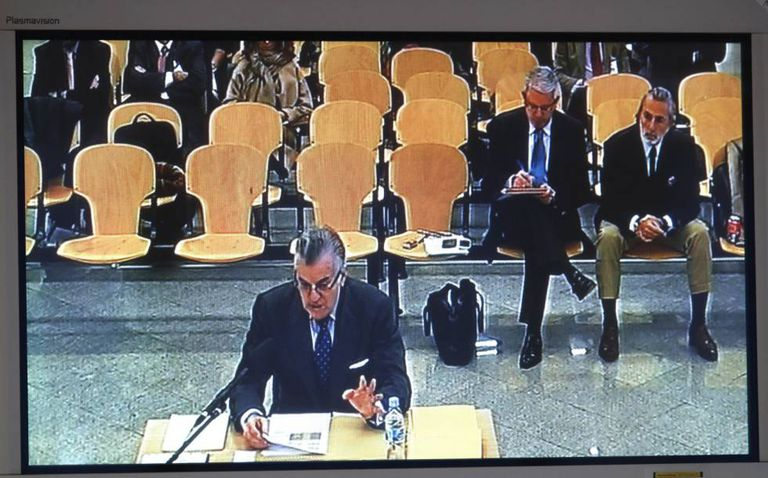 Former PP treasurer Luis Bárcenas gives evidence in one of Spain's many high-profile corruption trials.