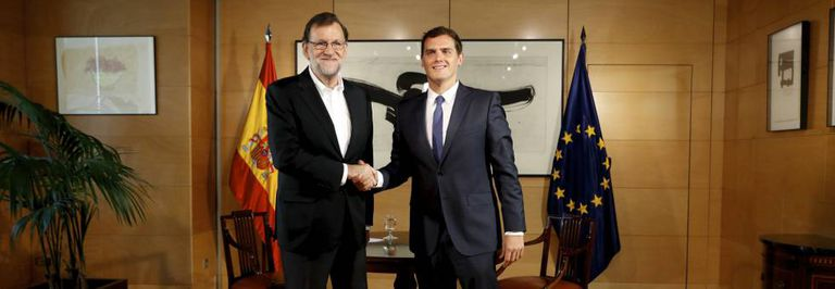 Mariano Rajoy and Albert Rivera last week.