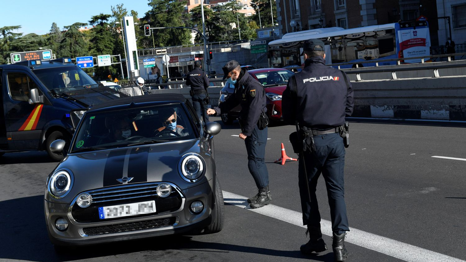 A police checkpoint in Madrid on Saturday.