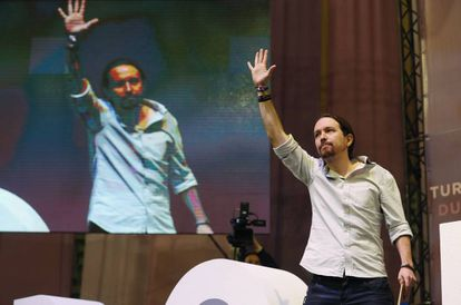 Podemos leader Pablo Iglesias at the party conference.