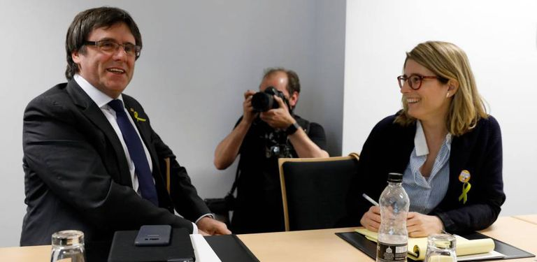 Carles Puigdemont and Elsa Artadi in Berlin.