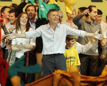 Macri celebrates his re-election on Sunday.