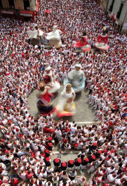 The giants on parade during last year's San Fermín festival.