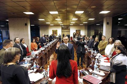 Maikel José Moreno being sworn in at the Venezuela Supreme Court.