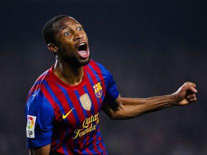 Seydou Keita of FC Barcelona celebrates after scoring his team's second goal.