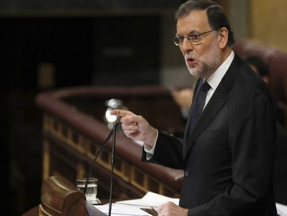 Acting PM Mariano Rajoy addressing Congress on Thursday.