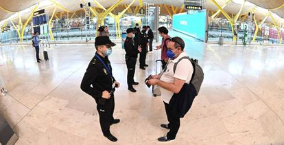 Police checkpoint at the Barajas airport in Madrid, which has been under a state of alarm since October 9.