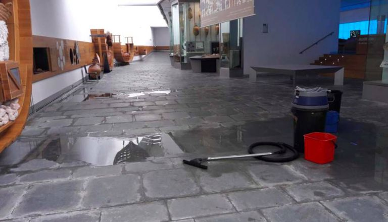 Water leaking into the exhibition space at Arqua.