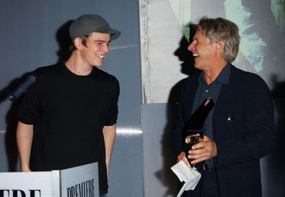 Josh Hartnett and Harrison Ford at a promotional event for 'Hollywood Homicide.' The smiles were fake, Hartnett has since revealed.