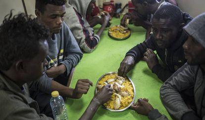 Rescued migrants on board 'Nuestra Madre Loreto.'