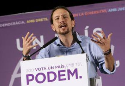 Podemos leader Pablo Iglesias at a campaign rally in Palma de Mallorca on Tuesday.