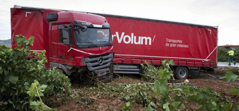 A truck that ran off the road in Fuenmayor on Monday.
