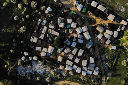 Aerial view of the shanty town in Lepe.
