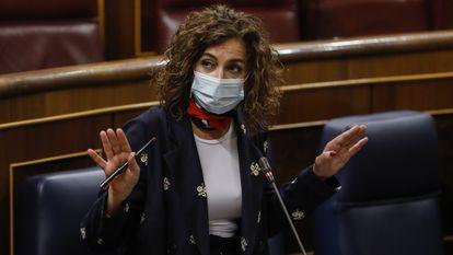 Finance Minister María Jesús Montero in Congress this week.