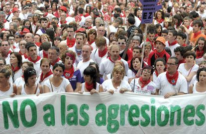 Demonstration in response to the rape of a young woman on the first night of Sanfermines.