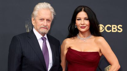 Michael Douglas and Catherine Zeta-Jones at the Emmy Awards in Los Angeles, September 19, 2021.