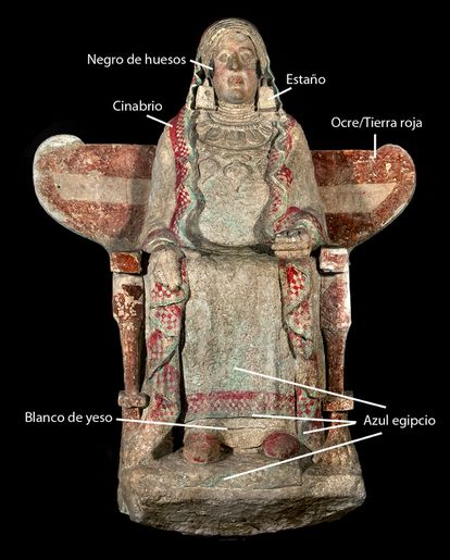 Pigments used on the Lady of Baza became visible after eliminating specular light.