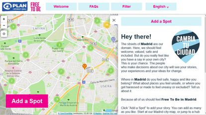 A screenshot of the Free to Be website showing a map of downtown Madrid.