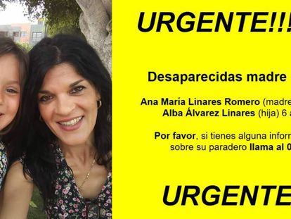 Ana María Linares and her daughter Alba in a missing person poster.