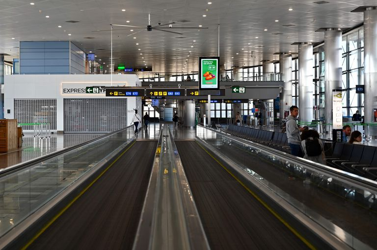 Empty travelators at Madrid-Barajas Adolfo Suarez Airport on Saturday.