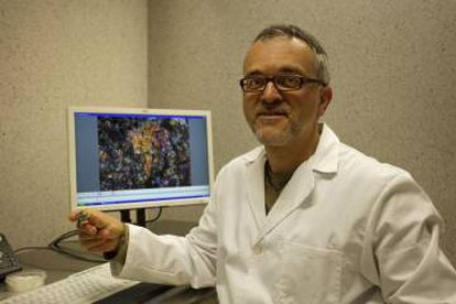 Josep Maria Trigo holds up the fragment of meteorite analyzed by the team.