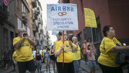 A protest against tourist apartment rentals in Barcelona.