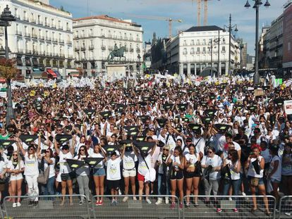 Animal rights activists rally in Madrid on Saturday.