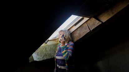 Purificación García in the attic of her house.