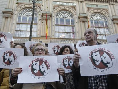 Employees of the Teatro del Liceo protest outside the Barcelona theater.