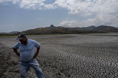 The fisherman Mariano Tribuna observes the deteriorating conditions of Lake Farallón in Veracruz.