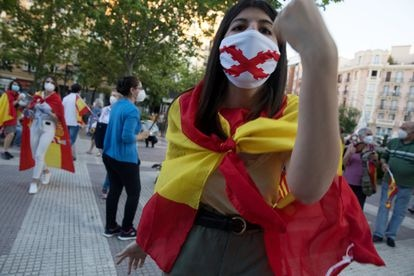 An anti-government demonstrator in the Madrid district of Chamberí.